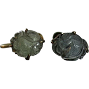 SOLD Authentic Chinese Antique Carved Aquamarine Gilt Silver Earrings