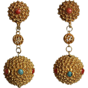 SALE Beautiful Chinese Export Natural Undyed Coral Turquoise Ornate Gilt Silver Ball Pendants