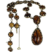SALE Rare 1950's Christian Dior By Mitchel Maer Lavaliere Style Necklace Rutilated Crystals an