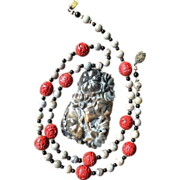 Chinese Hand Carved Jade Pendant with Two Fish and Lotus Flowers on Necklace with Cinnabar ...