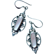 SALE Romantic Antique Silver Pendant Dangle Earrings with Pink Stone