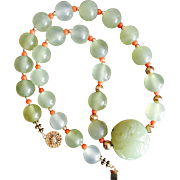 SALE Chinese Hand Carved Serpentine Large Bead on Green Stone Beads Necklace with Antique Medi