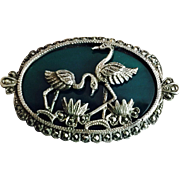 Art Deco Pin Brooch with Pair of Loving Birds Lotus Flowers on Chrysoprase Sterling Silver Mar