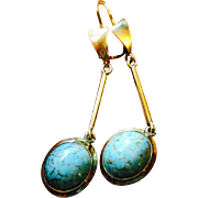 SALE Vintage 10 karat Yellow Gold Long Dangle Earrings with Bohemian Turquoise Glass Stones 2""