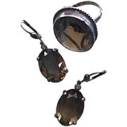 SALE Large and Beautiful Art Deco Smokey Quartz Silver Earrings and Large Smokey Quartz Cockta