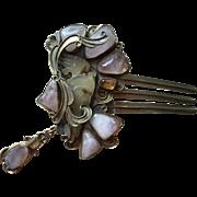 Vega Maddux Carved Jade Rose Quartz Citrine Hair Ornament Jewelry with Pendant Early Work 109