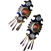 Vintage Chinese Enamel Gilt Silver Moonstone Dragon Breath Glass Stone Cabochon Dangle Earring