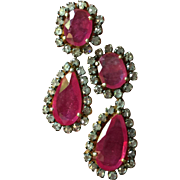 Estate Stunning and Elegant Large Ruby Diamond Dangle Earrings 3 ctw Diamonds 30 ctw Rubies 18