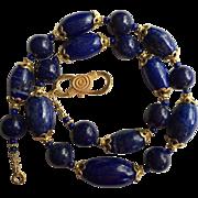 "Vintage Lapis Lazuli Large Bead Necklace with Fine Vermeil Silver Beads 20"" 94 grams Beau"