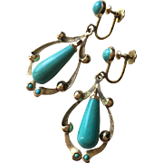 SALE Vintage 18K Gold Turquoise Dangle Earrings with Screw Backs 47 mm Long 9.6 ...