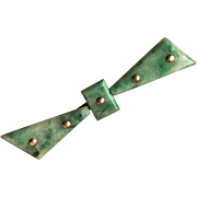 Elegant Art Deco Natural Apple Green Jade Ribbon with 14K Gold Studs Pin Brooch 2.5 inch long