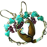 Chinese Enamel Dangle Earrings with Playful Fox and Garnet Grapes on the Vine