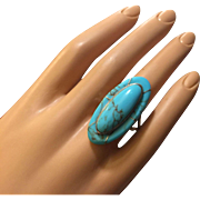 Elegant Fine Blue Turquoise Ring Handcrafted in Sterling Silver 36 mm Long Size 9.5 ...