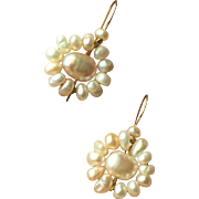 Lovely Vintage Flower Pearl Earrings with Pearls on 14K Solid Yellow Gold Wire