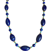 Vintage Large Lapis Lazuli 27 mm Oval Beads Necklace with Turquoise and 18K Gold Plated Silver