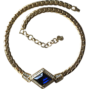 Vintage Christian Dior Gold Tone Choker Necklace with Sapphire Crystal