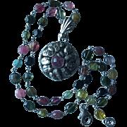 Vintage Pink Tourmaline Silver Pendant On Multicolor Tourmaline Necklace