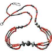SALE Vintage Natural Red Undyed Mediterranean Coral Necklace with Sterling Silver Bead Accents