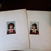 """2 Original French Chromolithographs, 1880's, 2 ½"""" x 3 ½"""""""
