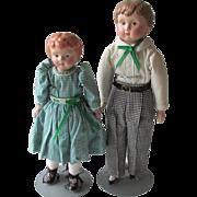SOLD Tin Head Minerva Boy and Girl