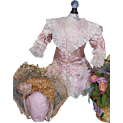 Gorgeous Pale Pink and Creme Ensemble for Jumeau, Bru or French Bebe