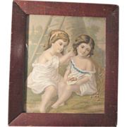 Lithograph of Two Girls at Play