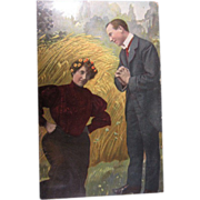"SOLD Vintage German Postcard ""Gentleman Asking A Lady A Question"""