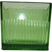 SALE Green Depression Glass Fan Fold Napkin Holder by the Diana Manufacturing Co., Green Bay .