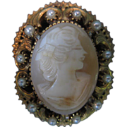 Florenza Signed Cameo Brooch/Pendant