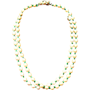 SALE Hobe Faux Pearl and Green bead necklace with rhinestone 1965