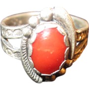 Native American Sterling and Coral Ring