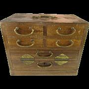 SALE Wood and Brass Jewelry Box K. S. Japan
