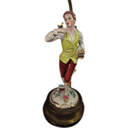 SALE Figurine Lamp of Young Frenchman in 18th Century Clothes enjoying the company of his Bird