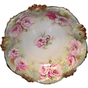 "SALE R. S. Prussia Bowl w/pink Flowers, ""Red Star"""