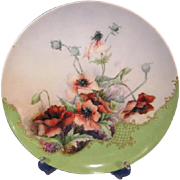 Haviland Limoges Poppy Chop Plate Artist Signed