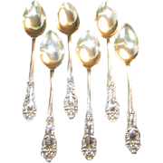 SALE Set of 6 Sterling Demitasse Spoons