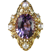 SALE Amethyst, Diamond and Pearl Ring in 14K Yellow Gold