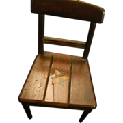 REDUCED Antique Wood Inlaid Doll Chair Miniature Wonderful