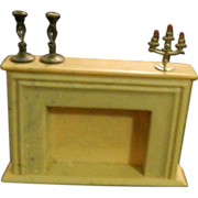 REDUCED Vintage Miniature Fireplace W/ Candelabra & Candle Sticks Doll House
