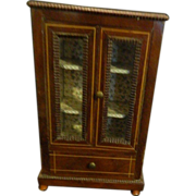 REDUCED Antique French Miniature Wood Doll Wardrobe Fancy For Fashion Doll Chest Cabinet