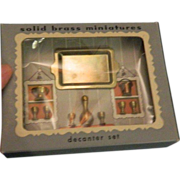 REDUCED Old Miniature Decanter Set Doll House Original box Tray Bucket Cups Bowl