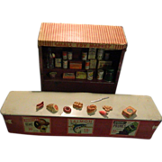 SALE PENDING Sale Pending Old Miniature Tin Metal Grocery Store W/ Groceries Doll House