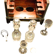 REDUCED Antique French Wooden Doll's Cabinet W/ Miniature Decanter & Glasses Box Set