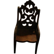 REDUCED Old Wonderful Carved Wood Miniature Doll House Chair Ornate