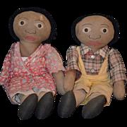 REDUCED Antique Rare Folk Art Black Cloth Doll Pair Dolls Sambo & Miranda