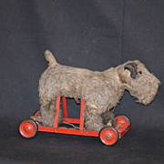 SALE PENDING Layaway for Lynne Cyr Antique Mohair Dog For Dolls Pull Toy Walking Motion Mechan