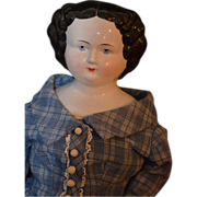 "REDUCED Antique China Head Doll HUGE Flat Top Dressed 31"" Tall"