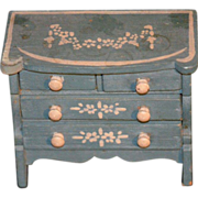 REDUCED Tynietoy Miniature Wood Painted Chest Cottage Dollhouse Doll