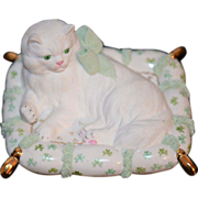 REDUCED Old Porcelain Dresden White Cat On Pillow Miniature Dollhouse
