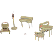 REDUCED Old Miniature Wicker & Wood Dollhouse Furniture Doll Lamp Chairs Desk & MOre